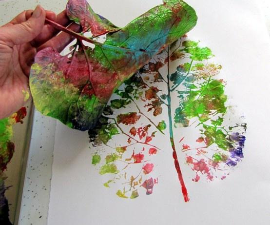 树叶拓画制作步骤
