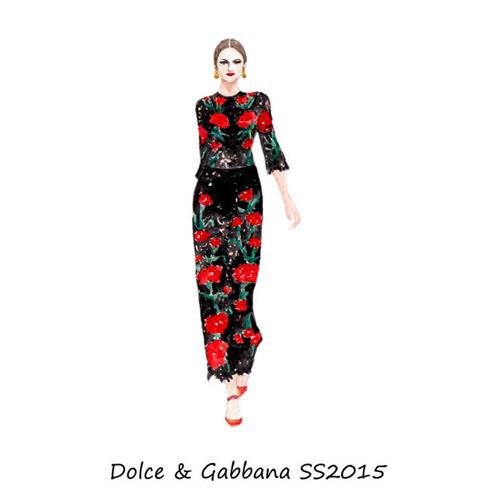 手绘技巧)设计大赛     时尚插画师最新杜嘉班纳2015夏季女装系列手稿