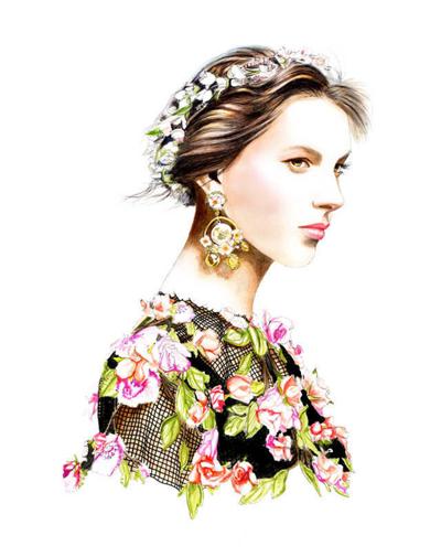 优雅写实派时尚插画师-时装画/手绘技巧-服装设计