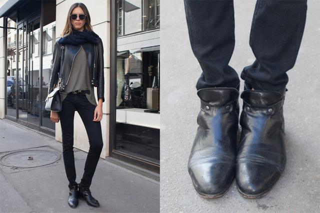 巴黎街上大家都这样穿!黑色短靴搭配术图片