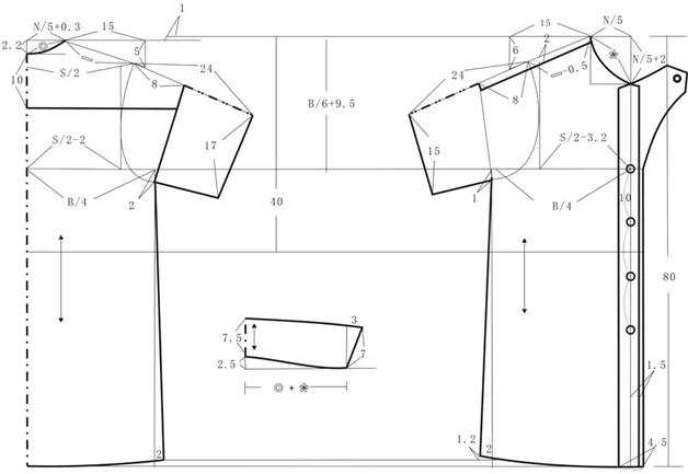 步骤:    规格   胸围96厘米 领围(N)37厘米 肩宽(S)40厘米 袖长((SL)24厘米 衣长(L)80厘米 领座(a)3厘米 翻领4.5厘米 袖口(CW)16厘米     用料   144厘米(门幅)110厘米     工艺要求   连袖直身衣,胸围放松量1 2厘米。前肩向下落2厘米,后中向下10厘米横向分割线,肩缝合并。翻折领,叠门宽1.