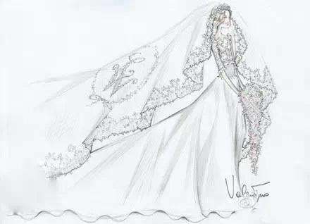 valentino专为各国王妃婚纱手绘稿曝光