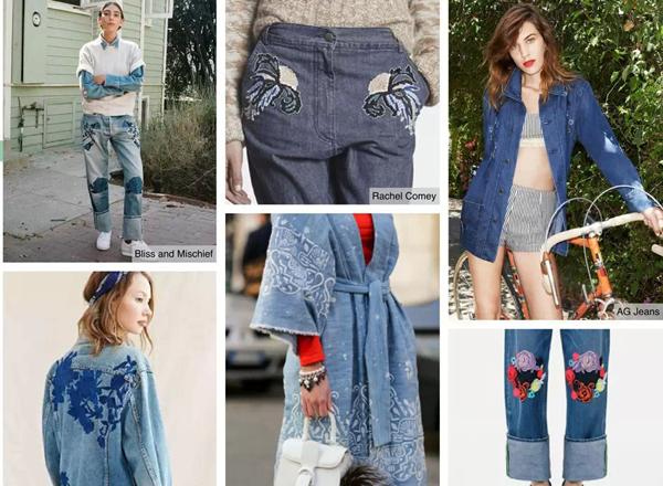 等款式运用半透明薄纱,必将成为热卖款式。巧妙运用薄纱的透视效果,深海色调或柔和粉红色是不错的色彩选择。    绣花牛仔   精美绣花为牛仔裤和牛仔夹克赋予了全新靓丽外观。在绣花牛仔方面,具有影响力的品牌包括新晋洛杉矶品牌Bliss and Mischief,以及AG Jeans与Alexa Chung的合作系列。绣花可以替代印花,适合文化艺术节着装,尤其适合带装饰的卡车司机夹克。就成熟女装市场而言,可考虑在青年布牛仔装或核心基本款牛仔装上运用同色系绣花,演绎工匠手工艺风格。绣花牛仔在各个区域都具备流行的潜