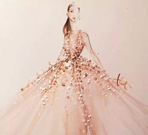 水粉礼服手绘 画纸上的流光溢彩