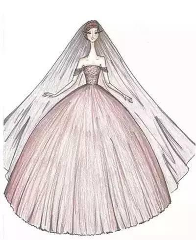 欣赏完如此唯美的手绘婚纱礼服