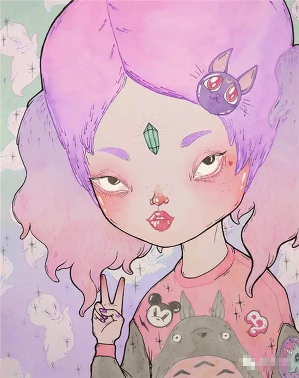 时尚插画| loll3和她的原宿大头娃娃