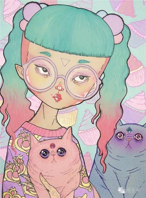 时尚插画-LOll3和她的原宿大头娃娃~