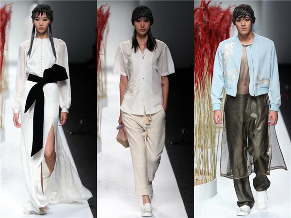 吉承 2017 春夏系列的主角是凤凰,以刺绣的形式出现在衬衫、吊带上衣、夹克等单品上,但都不是常见的华丽金线刺绣,而是选择了更克制和街头的手法,色彩上选择了天蓝和银色、大红与黑色、白色与黑色这样一对对并不跳脱的组合。除了凤凰另一个中国元素是很有年代感的 V 领衬衫,七十年代最正统的服装放在新的环境中一下子竟变得有趣起来了。 密扇:满汉全席