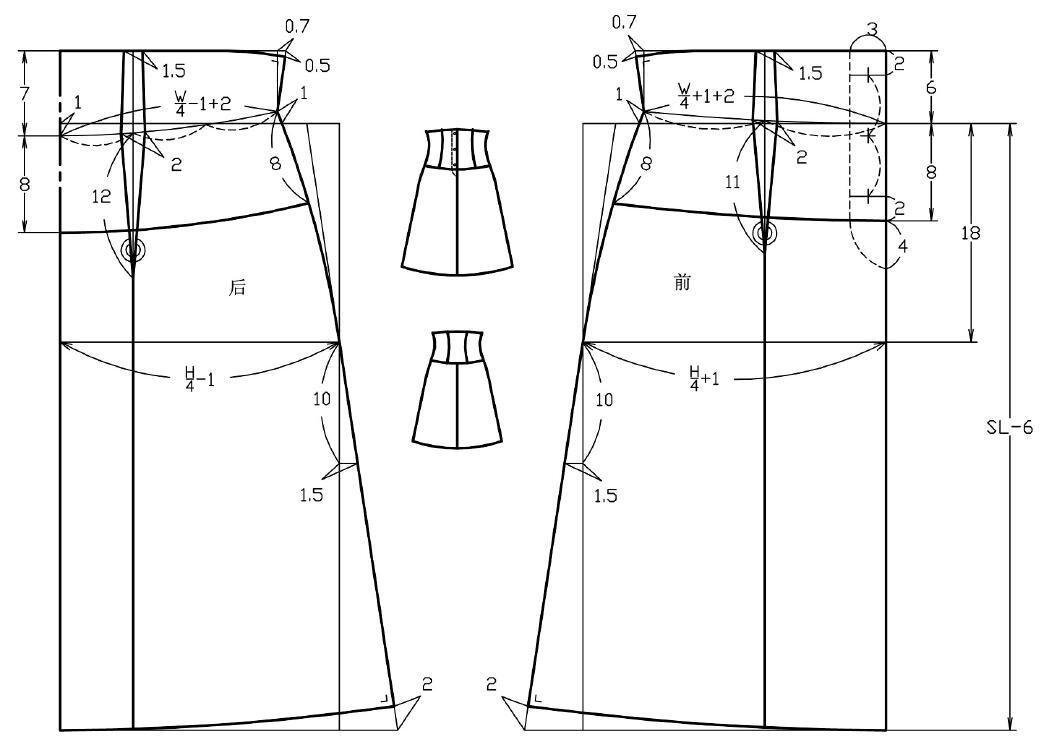干货/详解四款高腰裙子的结构制图方法