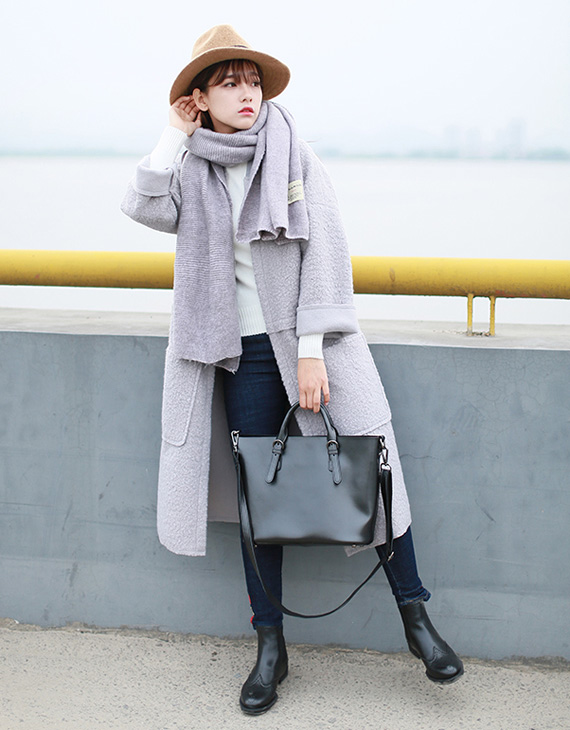 冬季呢大衣暖搭,文艺森女气质品味-服装潮流搭配-服装