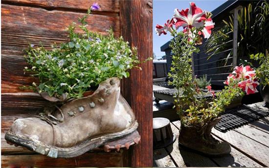 废旧物品鞋子手工制作盆栽