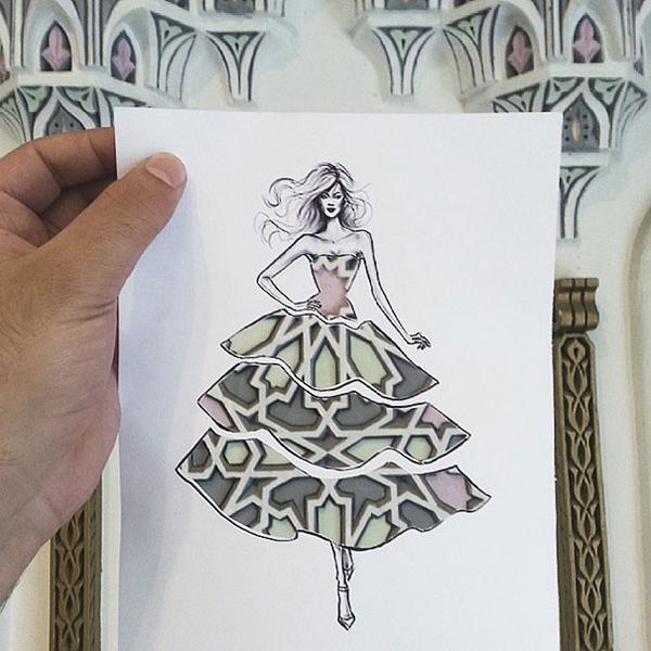 利用剪纸和城-服装设计