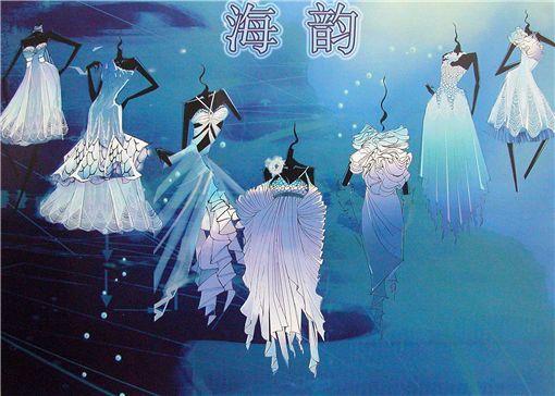 雪纺,珠片为基本设计元素,用不对称的形式,表现此系列礼服的璀璨若星.