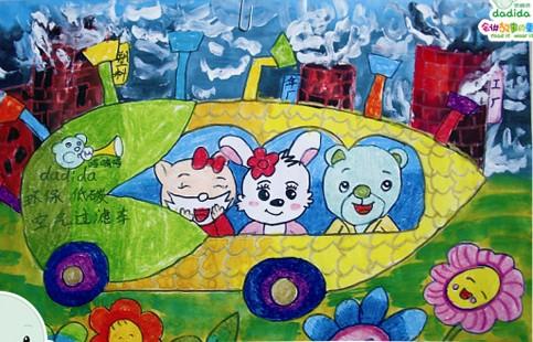 校园风儿童抽象画