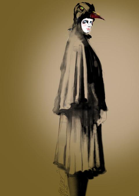 风衣时尚插画手绘图片